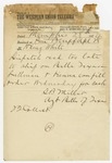 1874 April 28: S.B. Miller, Memphis, Tennessee, to H. King White, Pine Bluff