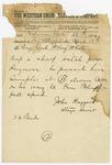 1874 April 28: John Huggard, Reform, Arkansas, to Brigadier General H. King White, Pine Bluff