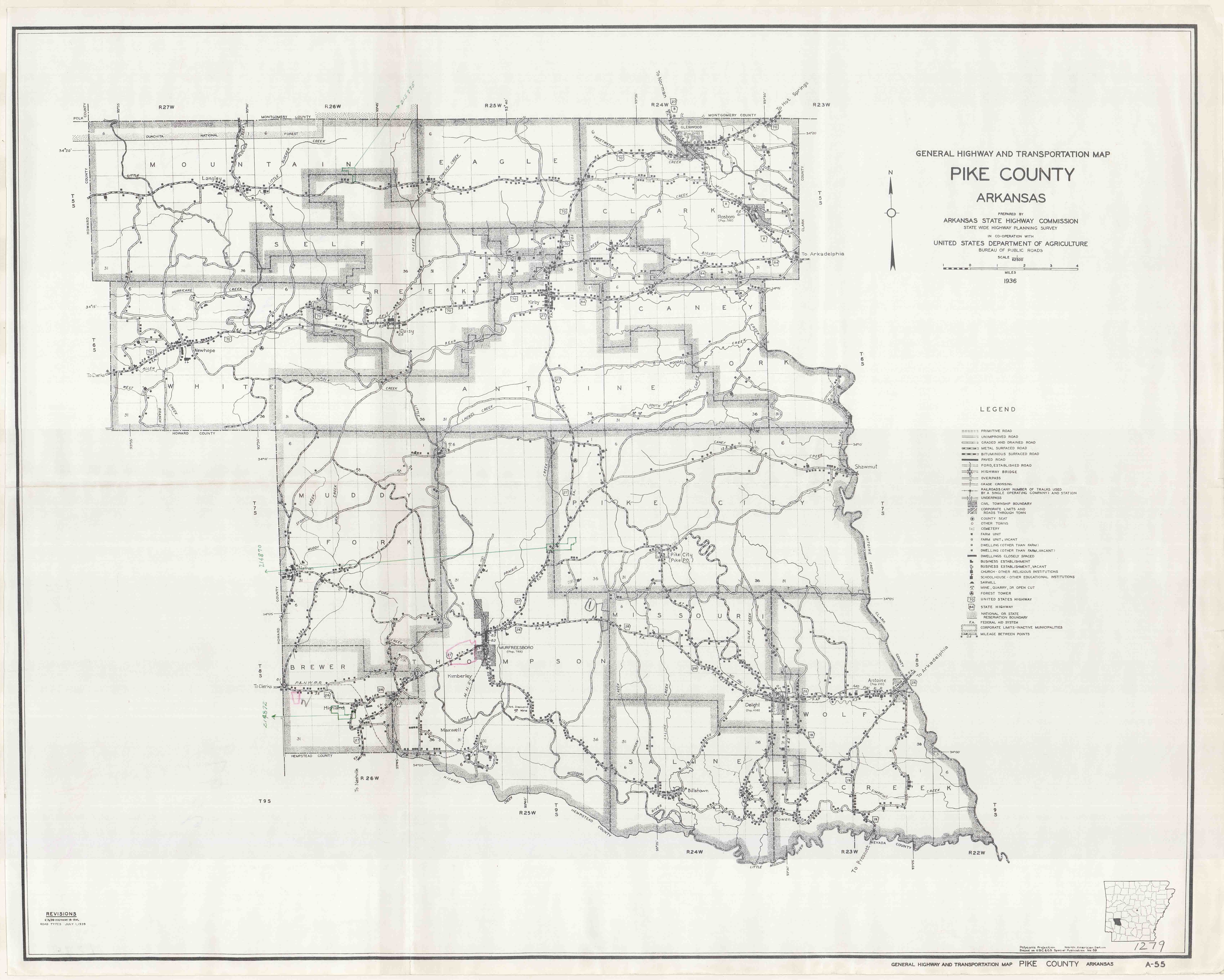 General Highway and Transportation Map of Pike County, Arkansas\