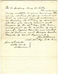 Letter, Colonel Batt Jones to Governor Henry Rector