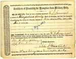 Certificate of Disability for Exemption from military duty, R.J. Jennings