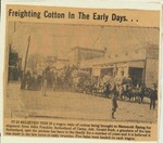Newspaper clipping, freighting cotton in the early days