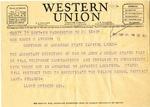 Telegram, U.S Senator Lloyd Spencer to Governor Homer M. Adkins