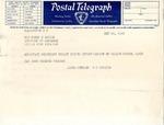 Telegram, U.S. Senator Lloyd Spencer to Governor Homer Adkins