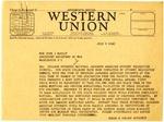 Telegram, Governor Homer Adkins to Assistant Secretary of War John McCloy