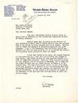 Letter, from L.V. Twyford, to Governor Homer Adkins
