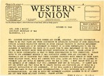 Telegram, Governor Homer M. Adkins to John J. McCloy, Assistant Secretary of War