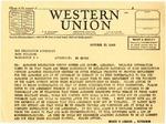 Telegram, Governor Homer M. Adkins to Dillon Meyer