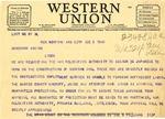 Telegram, B. Williams to Governor Homer M. Adkins