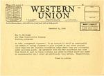 Telegram, Governor Homer M. Adkins to B. Williams