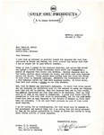Letter, I.C. Oxner, Distributor for Gulf Oil Products, to Governor Homer M. Adkins