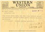 Telegram, Kentucky Senator Albert Benjamin Chandler to Governor Homer M. Adkins
