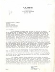 Letter, P.A. Lasley to Governor Homer M. Adkins