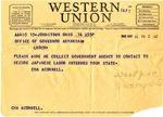 Telegram, Cha. Acornell to Governor Homer M. Adkins