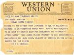 Telegram, Dr. W.B. Grayson to Governor Homer M. Adkins