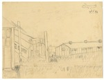 Graphite drawing of Jerome Relocation Center barracks