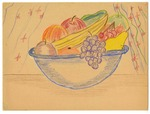Still life color drawing of a fruit bowl by Ikuko