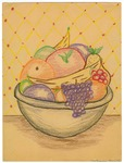 Still life color drawing of a fruit bowl by Natsumi Tomita