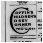 Frank Barbour Coffin Advertisement for Children's Drug Store