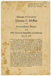 Message of Governor Thomas C. McRae