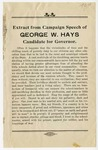 Flyer, extract from campaign speech of George W. Hays