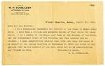 Letter, W.H. Dunblazier campaign