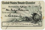U.S. Senate chamber admissions card, Fadjo Cravens