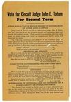 Campaign pamphlet, Judge John E. Tatum