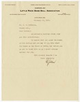Letter and Baseball Contract for J.H.