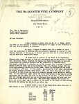 Letter, J.G. Puterbaugh of the McAlester Fuel Company to Gov. John E. Martineau