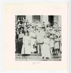 Women's Suffrage Delegation on the steps of the State Capitol with Governor Charles Brough
