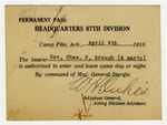 Governor Charles H. Brough's Permanent Pass to the Headquarters 87th Division