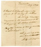 1821 July 16: Colonel John Miller, Davidsonville, Arkansas, to Robert Crittenden, Acting Governor, Resignation as Colonel Commandant of Third Arkansas Militia