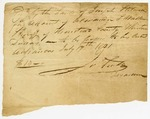 1821 October 1: James Scull, Territorial Treasurer, to [Hewes] Scull, Sheriff of Arkansas County, Receipt