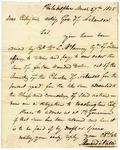 1825 March 27: Menard Valle, Philadelphia, to Acting Governor Crittington [Crittenden], Funds payable to Cherokee Indians