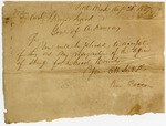 1827 August 21: Ben Patton, Little Rock, to Governor George Izard, Resignation as sheriff of Chicot County
