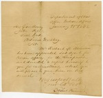1832 January 21: Elbert Herring, Department of War, to Governor John Pope, Appointment of Richard M. Hannum as agent for Quapaws