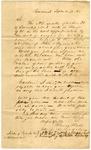 1838 September 17: Harvey Hall, Cincinnati, Ohio, to E.N. Conway, Auditor, Military bounty land claim of John Myers, deceased