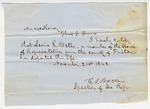 1848 November 21: E.A. Warren, Speaker, House of Representatives, to Governor Thomas S. Drew, Announcement of the death of Representative Lewis R. Wells