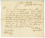 1849 October 25: A. Wood, Yellville, to J.M. Cox, aide-de-camp, Cox's honorable discharge from militia