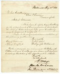 1858 May 13: Dalrymple Williams, Baltimore, to Governor Elias N. Conway, Request for appointment as Commissioner of Deeds for Arkansas in Maryland