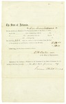 1859 January 22: O.H. Oates, Speaker of the House of Representatives, to Lewis Williams, Certificate of service as member of General Assembly