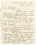 1868 November 6: Joseph Brooks, Little Rock, to Governor Clayton, Recommending appointment of D.P. Upham as commander of District of Northeast Arkansas