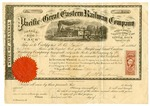 1869 November 3: Pacific and Great Eastern Railway Company, Certificate for five shares to W.O. Purssill