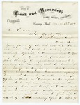 1872 March 12: W.T. Cunningham, Evening Shade, Arkansas, to Governor O.A. Hadley, Political situation in Sharp County