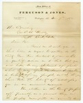 1872 November 7: D.W. Jones, Washington, Arkansas, to Governor O.A. Hadley, Concerning political situation and disenfranchisement of voters in Hempstead County