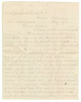 1881 May 12: T.F. Sorrells, Warren, Arkansaw, to Governor Churchill, Concerning problems of Democratic Party of Arkansas