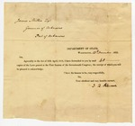 1822 November 13: J.Q. Adams, Department of State, Washington, District of Columbia, to Governor James Miller, Transmitting copies of laws passed by Seventeenth Congress