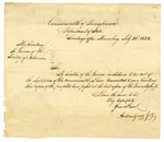 1823 July 22: Andrew Gregg, Harrisburg, Pennsylvania, to Governor of Arkansas Territory, Transmitting copies of laws passed by Pennsylvania General Assembly