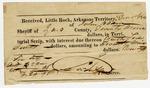 1826 December 1: James Scull, Territorial Treasurer, to John Adams, Sheriff of Izard County, Receipt